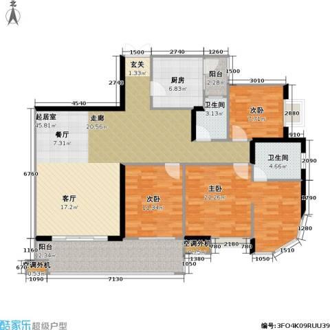 庆业巴蜀城B区3室0厅2卫1厨116.64㎡户型图