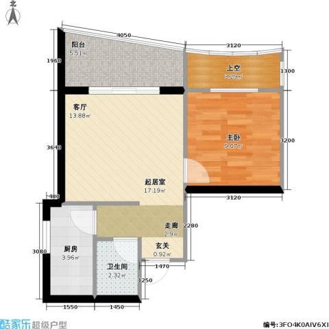 庆业巴蜀城B区1室0厅1卫1厨41.35㎡户型图