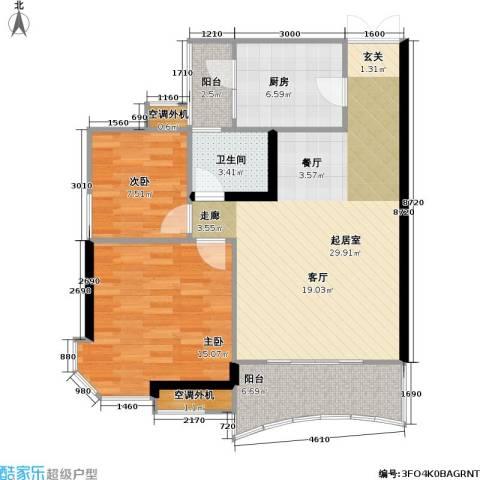 庆业巴蜀城B区2室0厅1卫1厨73.38㎡户型图