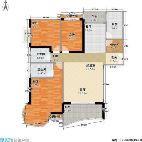 庆业巴蜀城B区3室0厅2卫1厨115.12㎡户型图