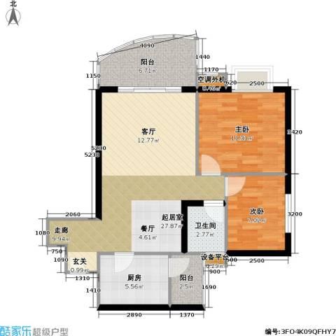 庆业巴蜀城B区2室0厅1卫1厨64.50㎡户型图