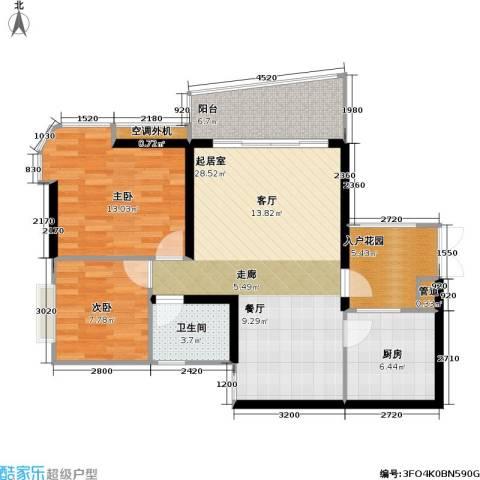 庆业巴蜀城B区2室0厅1卫1厨72.65㎡户型图