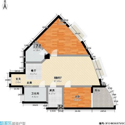 天元瑞�名苑2室1厅2卫1厨77.18㎡户型图