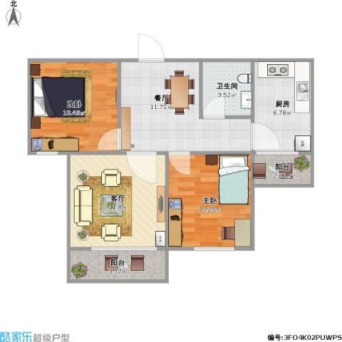 东岳小区2室2厅1卫1厨82.00㎡户型图