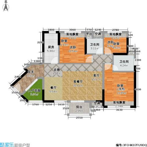 万科金域缇香3室1厅2卫1厨98.84㎡户型图