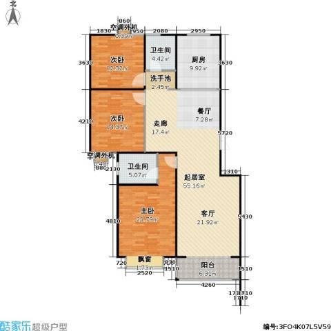 山水名园三期3室0厅2卫1厨165.00㎡户型图