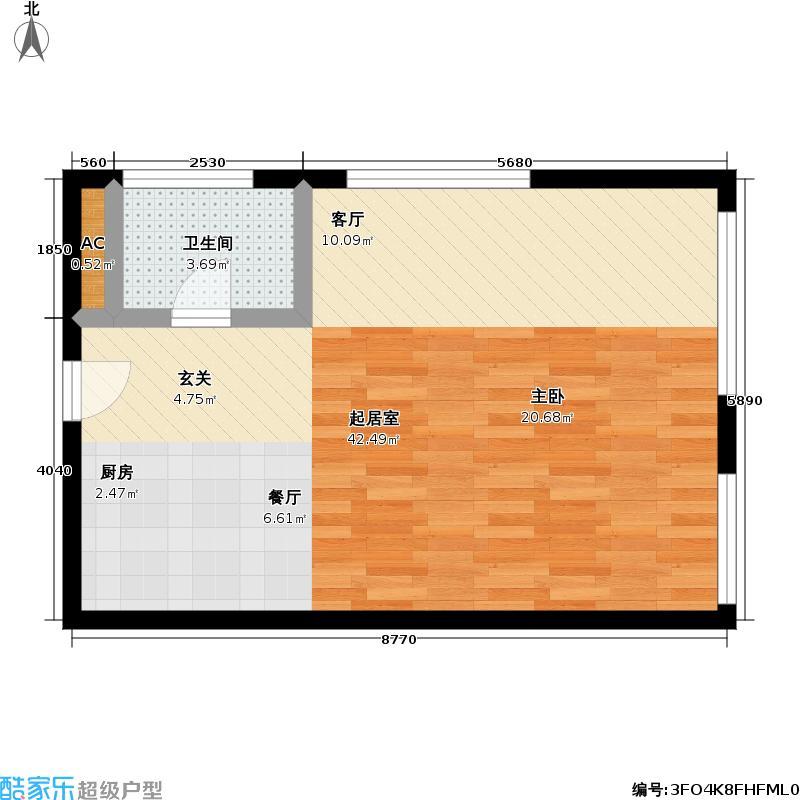 天作万瑞国际公寓73.71㎡2J户型一居户型