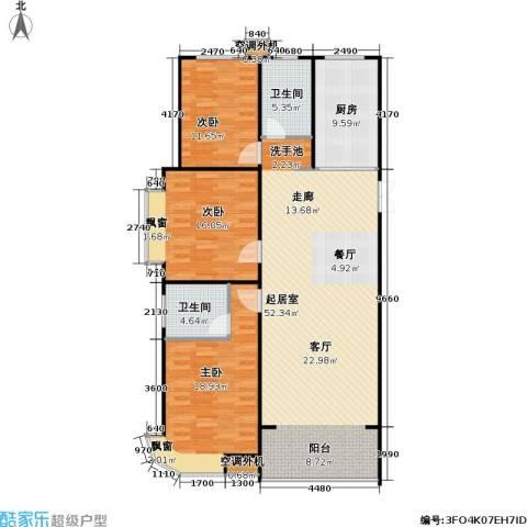 山水名园三期3室0厅2卫1厨159.00㎡户型图