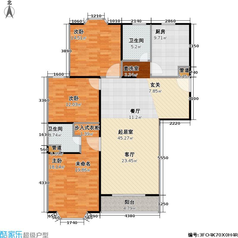 明辉华庭124.00㎡房型: 三房; 面积段: 124 -130.95 平方米; 户型