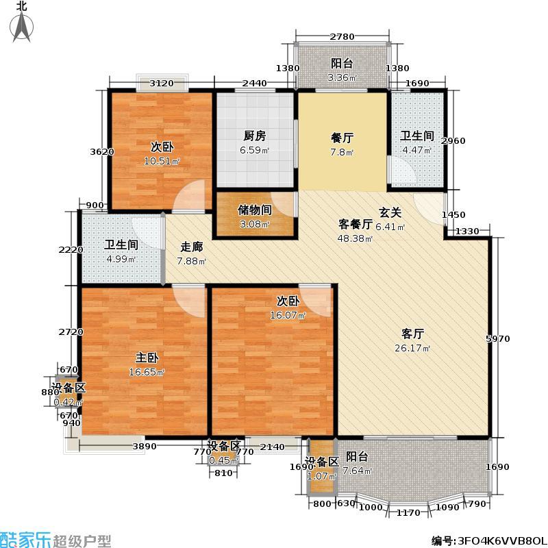 乾宁园113.76㎡房型: 三房; 面积段: 113.76 -134.91 平方米;户型
