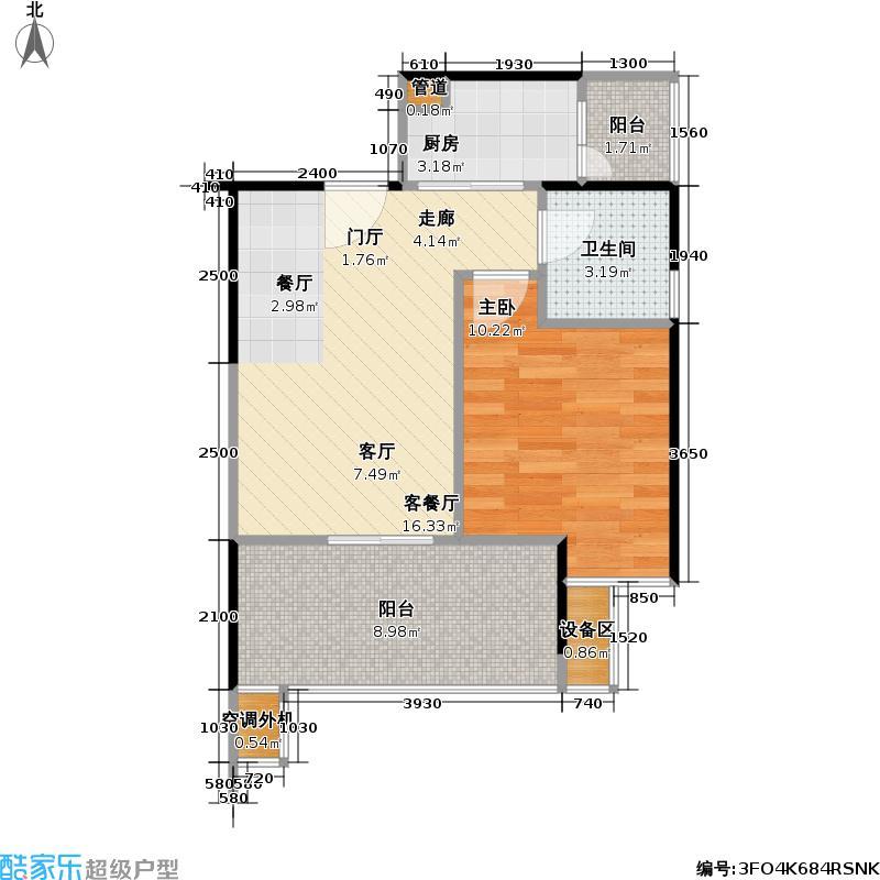 西城雅筑C座09户型1室1厅1卫1厨