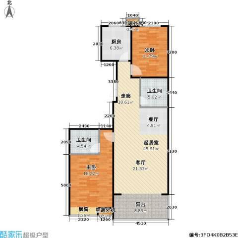 山水名园三期2室0厅2卫1厨124.00㎡户型图