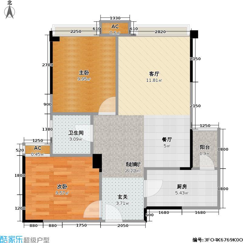 合能珍宝琥珀66.00㎡合能珍宝琥珀户型图B3户型两室两厅一卫(2/2张)户型2室2厅1卫
