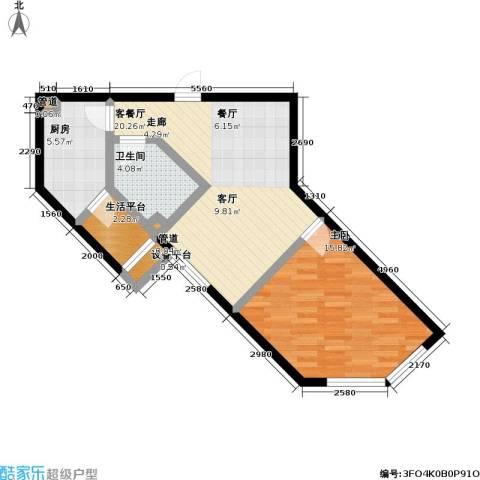 天元瑞�名苑1室1厅1卫1厨57.00㎡户型图