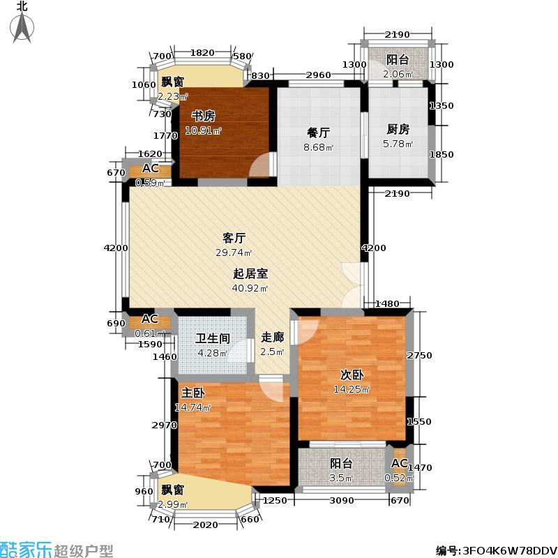 临汾名城一期106.00㎡房型: 三房; 面积段: 106 -122 平方米;户型