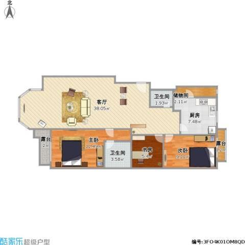 合生珠江罗马嘉园3室1厅2卫1厨113.00㎡户型图