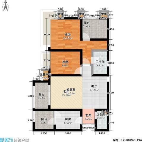 龙湖 悠山香庭 龙湖・悠山时光 悠山时光2室0厅2卫1厨118.00㎡户型图