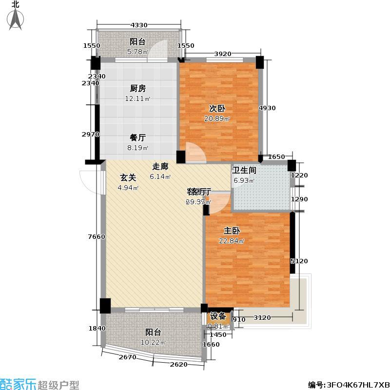 佳丽花园2室2厅2卫140平米南北通户型