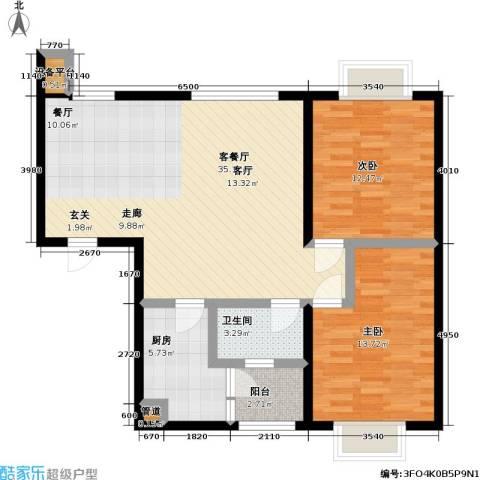 天元瑞�名苑2室1厅1卫1厨73.77㎡户型图