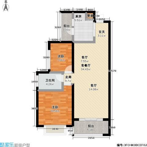 天元瑞�名苑2室1厅1卫1厨73.81㎡户型图