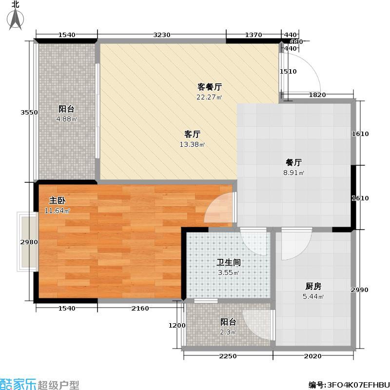 锦天・星都59.06㎡一期4号楼标准层D3户型
