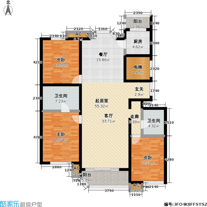 世纪城(三期)159.88㎡晴波园3号楼C户型