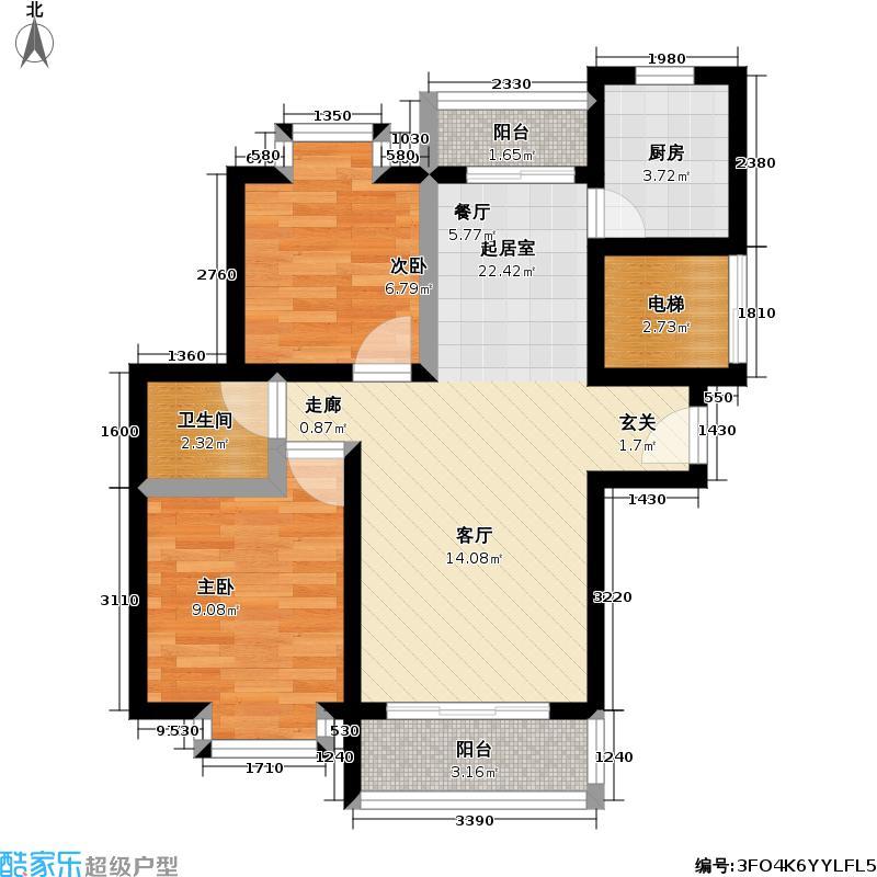 椰风・水漾人家85.17㎡C户型两室两厅一厨一卫户型