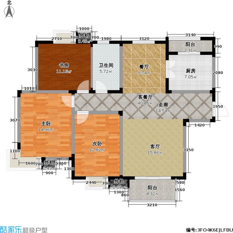 星胜客110.00㎡星胜客户型图三房二厅一卫-115平方米(1/3张)户型10室