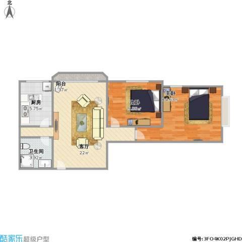 合生珠江罗马嘉园2室1厅1卫1厨78.00㎡户型图