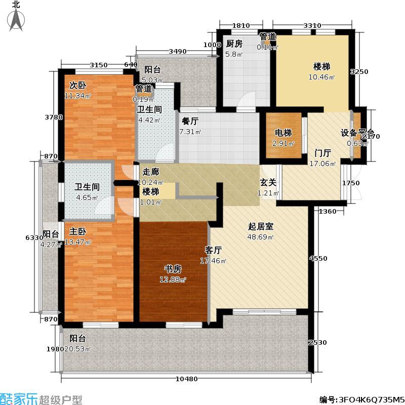 古北中央花园150.00㎡房型: 三房; 面积段: 150 -158 平方米;户型
