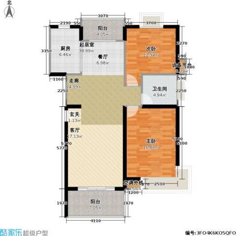 万兆家园五期2室0厅1卫1厨91.20㎡户型图