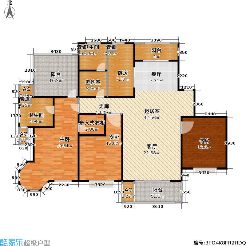 华钜御庭144.63㎡3房2厅2卫户型