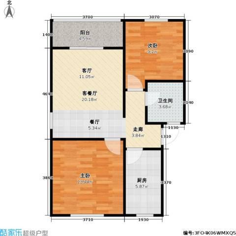 百利华府2室1厅1卫1厨63.00㎡户型图