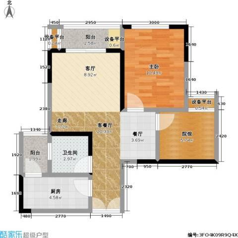 财信城市国际1室1厅1卫1厨49.39㎡户型图
