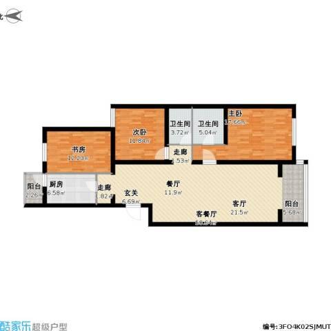 龙锦苑东五区3室1厅2卫1厨156.00㎡户型图