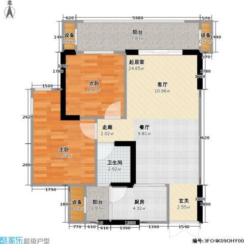 华宇・春江花月 春江花月2室0厅1卫1厨63.42㎡户型图
