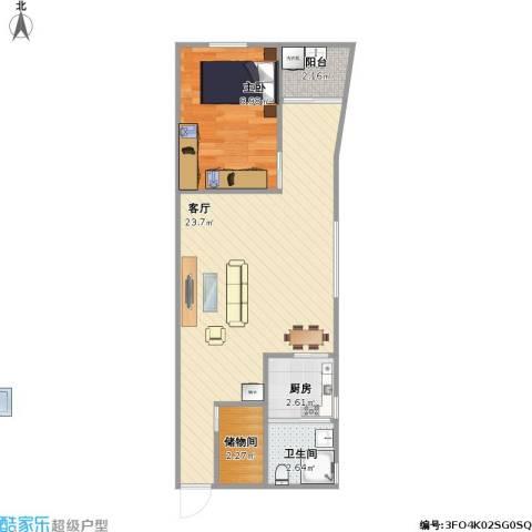 荔福花园1室1厅1卫1厨58.00㎡户型图