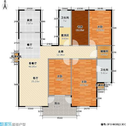 百利华府4室1厅2卫1厨143.00㎡户型图