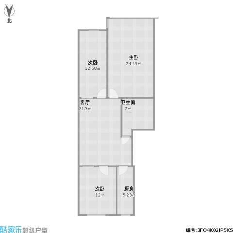 伊水华庭小区3室1厅1卫1厨110.00㎡户型图