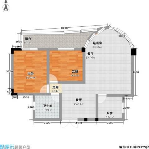 枫丹筱筑半山居、水云居2室0厅1卫1厨74.28㎡户型图