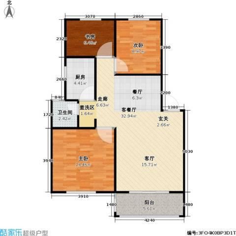 百利华府3室1厅1卫1厨81.00㎡户型图