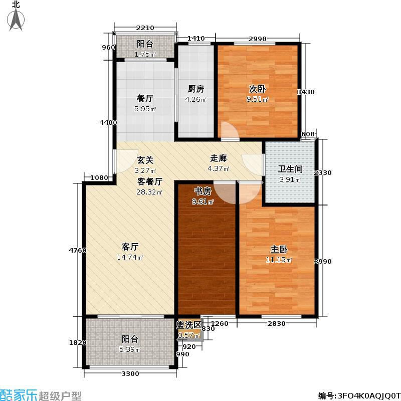 百利华府户型3室1厅1卫1厨