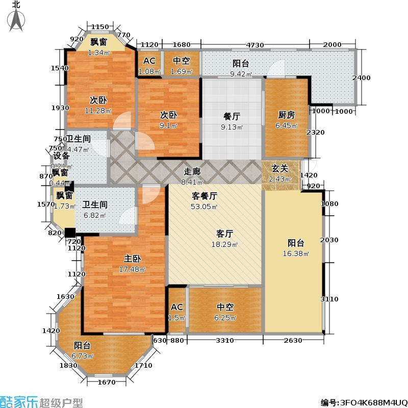 保利中央峰景111.69㎡11+1洋房 10、11号楼5层 C9 2室2厅2卫(实得150平米)户型2室2厅2卫