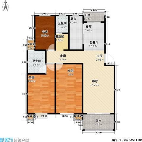 百利华府3室1厅2卫1厨81.00㎡户型图