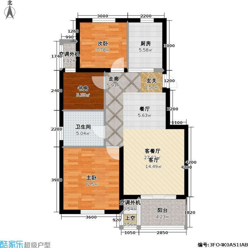 兆祥江南文苑户型3室1厅1卫1厨