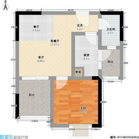 和泓南山道1室1厅1卫1厨44.00㎡户型图