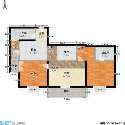 联洋年华2室0厅2卫0厨113.00㎡户型图