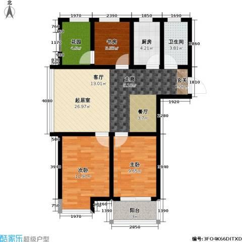 迎宾秀园3室0厅1卫1厨92.00㎡户型图