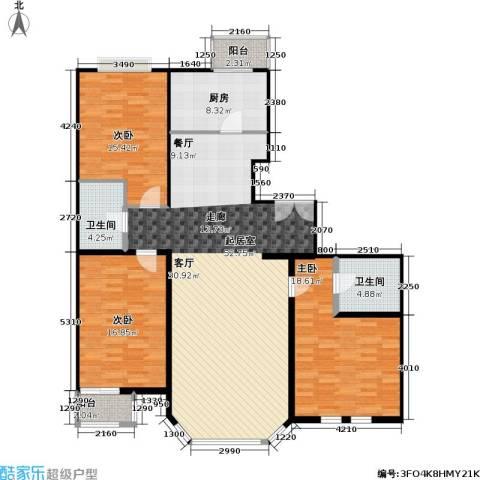 双花园小区3室0厅2卫1厨137.00㎡户型图