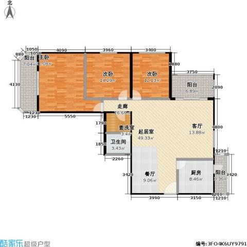 双花园小区3室0厅1卫1厨142.00㎡户型图